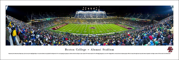 Boston College Football Alumni Stadium Game Night Panoramic Poster Print - Blakeway