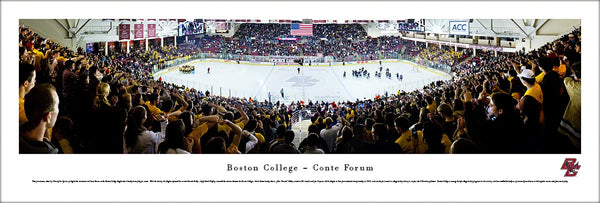 Boston College Eagles Hockey Conte Forum Game Night Panoramic Poster Print - Blakeway