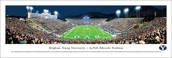 BYU Cougars LaVell Edwards Stadium Game Night Panoramic Poster Print - Blakeway 2011