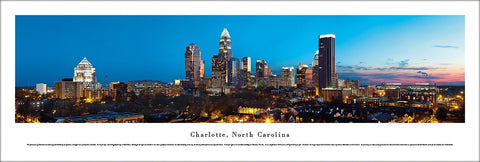Charlotte, NC Skyline at Dusk Panoramic Poster Print - Blakeway Worldwise