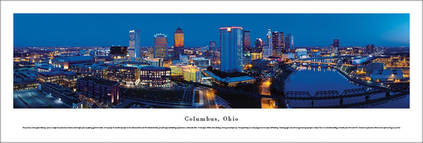 Columbus, Ohio Skyline at Dusk Panoramic Poster Print - Blakeway Worldwide