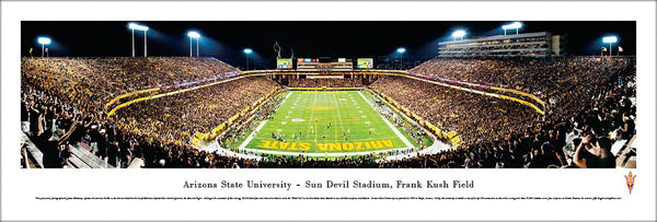 "Arizona State Sun Devils Football ""Blackout"" Game Night Panoramic Poster Print - Blakeway"
