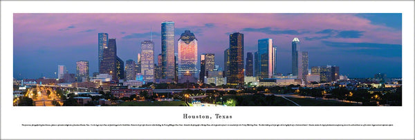 "Houston, Texas ""Skyline at Dusk"" Panoramic Poster Print - Blakeway Worldwide"