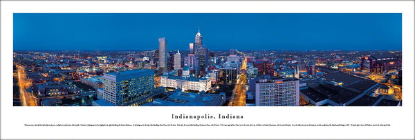 Indianapolis, Indiana Skyline at Dusk Panoramic Poster - Blakeway
