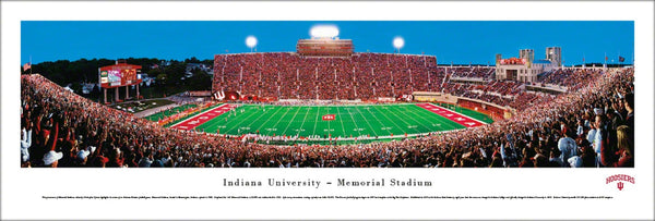Indiana Hoosiers Football Memorial Stadium Game Night Panoramic Poster Print - Blakeway