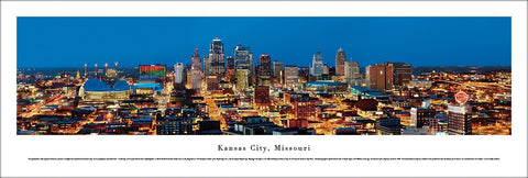 Kansas City, Missouri Skyline at Dusk Panoramic Poster Print - Blakeway