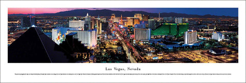 Las Vegas Strip at Dusk Aerial Skyline Panoramic Poster Print - Blakeway Worldwide