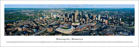 Minneapolis, Minnesota Skyline Aerial Panoramic Poster Print - Blakeway Worldwide