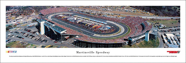 Martinsville Speedway NASCAR Race Day Aerial Panoramic Poster - Blakeway Worldwide