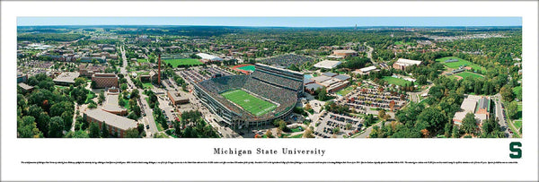 Michigan State Football Aerial Panoramic Poster Print - Blakeway Worldwide