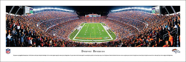 Denver Broncos NFL Football Game Night Panoramic Poster Print - Blakeway