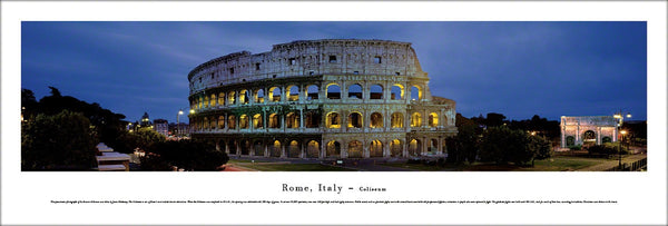 The Roman Coliseum at Dusk Panoramic Poster Print (Rome, Italy) - Blakeway Worldwide