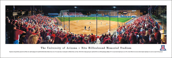 Arizona Wildcats Softball Game Night Panoramic Poster Print - Blakeway Worldwide