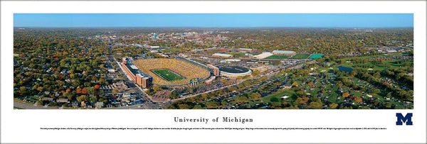 University of Michigan Football Gameday Aerial Panoramic Poster Print - Blakeway Worldwide