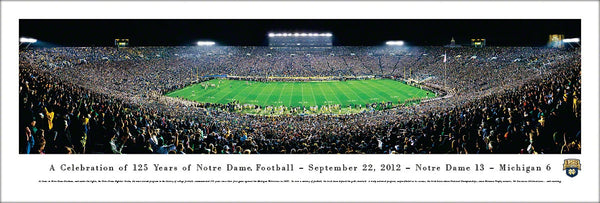"Notre Dame Football ""125 Year Anniversary"" Game Night Panoramic Poster Print - Blakeway 2012"