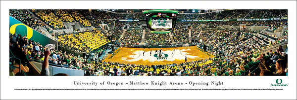 Oregon Ducks Basketball Matthew Knight Arena Opening Night Panoramic Poster Print - Blakeway Worldwide
