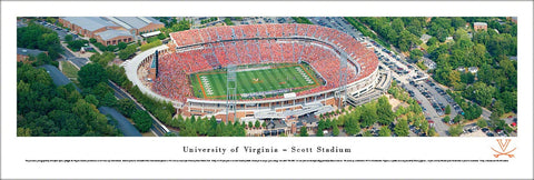 Virginia Cavaliers Football Scott Stadium Gameday Aerial Panoramic Poster - Blakeway