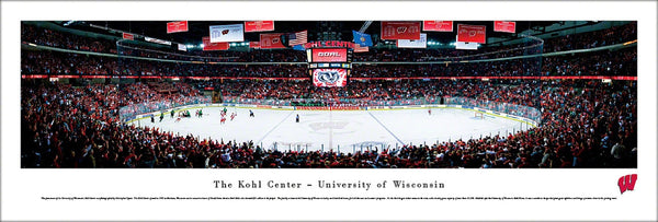 Wisconsin Badgers Hockey Kohl Center Game Night Panoramic Poster - Blakeway Worldwide