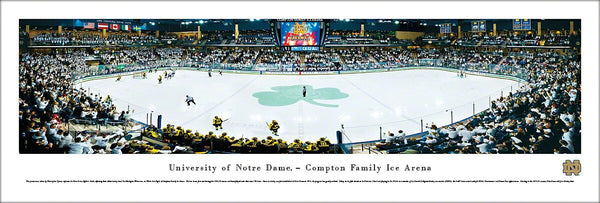 Notre Dame Fighting Irish Hockey Game Night Panoramic Poster Print - Blakeway