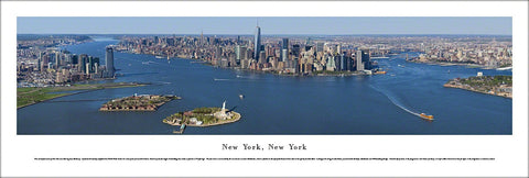 New York City Manhattan Skyline Lower Manhattan Aerial View Panoramic Poster Print - Blakeway