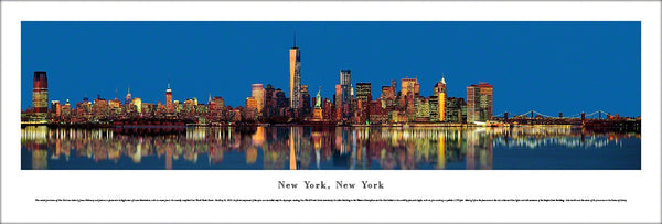 New York City Lower Manhattan Skyline at Dusk Panoramic Poster Print - Blakeway Worldwide