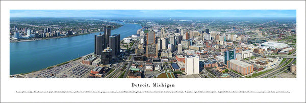 Detroit, Michigan Aerial View Panoramic Poster Print - Blakeway Worldwide