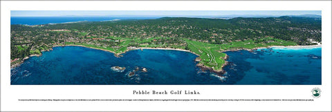 Pebble Beach Golf Links Aerial Panoramic Poster Print - Blakeway Worldwide