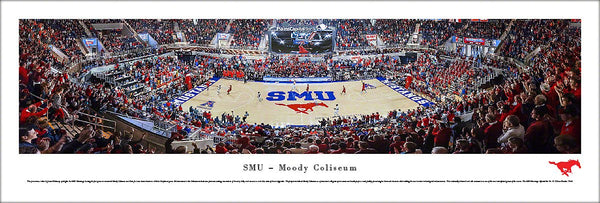 SMU Mustangs Basketball Moody Coliseum Game Night Panoramic Poster Print - Blakeway