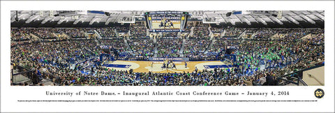 "Notre Dame Fighting Irish Basketball Purcell Pavilion Game ""ACC Opener"" Panoramic Poster Print"