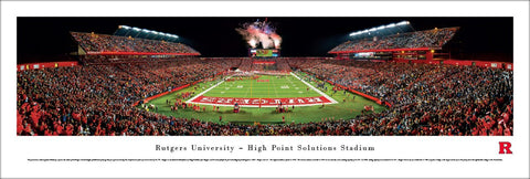 Rutgers Scarlet Knights High Point Solultions Stadium Game Night Panoramic Print - Blakeway