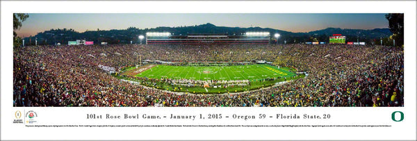 Oregon Ducks Football 2015 Rose Bowl Champions Panoramic Poster Print - Blakeway Worldwide