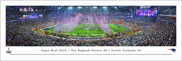 New England Patriots Super Bowl XLIX (2015) Game Night Panoramic Poster Print