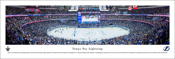 Tampa Bay Lightning Amalie Arena NHL Playoff Game Night Panoramic Poster - Blakeway Worldwide