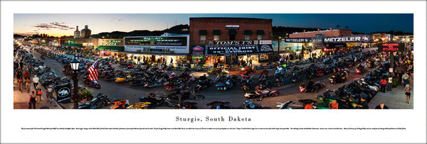 Sturgis, South Dakota Motorcycle Rally 2015 (Main Street at Night) Panoramic Poster Print - Blakeway
