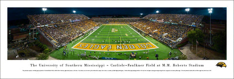 Southern Miss Golden Eagles Football Roberts Stadium Game Night Panoramic Poster Print - Blakeway