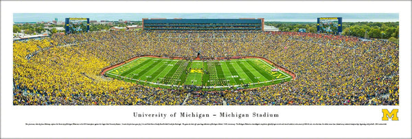 "Michigan Wolverines Football Big House Gameday ""Band M"" Panoramic Poster Print - Blakeway 2015"