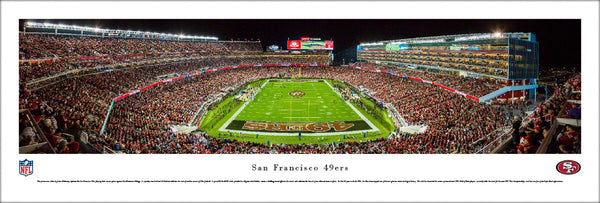 San Francisco 49ers Levi's Stadium Game Night End Zone Panoramic Poster Print - Blakeway Worldwide