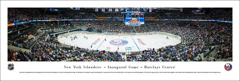 New York Islanders Inaugural Game in Brooklyn Barclays Center Panoramic Poster Print - Blakeway