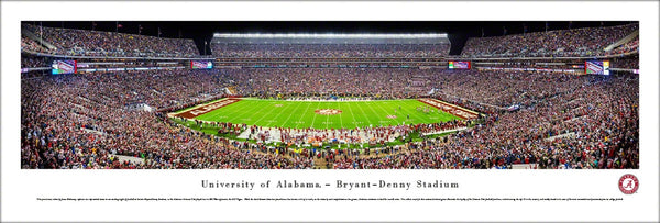 Alabama Crimson Tide Football Game Night at Bryant-Denny Stadium Panoramic Poster - Blakeway 2015