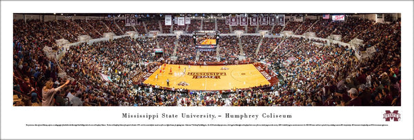 Mississippi State Bulldogs Basketball Game Night at Humphrey Coliseum Panoramic Poster - Blakeway