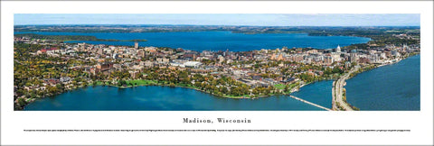 Madison, Wisconsin Aerial Panoramic Poster Print - Blakeway Worldwide