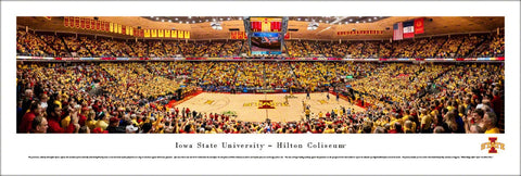 Iowa State Cyclones Basketball Hilton Coliseum Game Night Panoramic Poster Print - Blakeway 2016