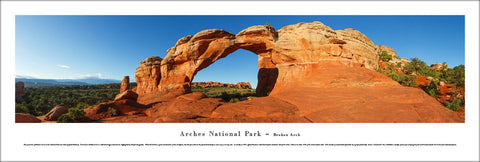 "Arches National Park ""Broken Arch"" Panoramic Landscape Poster Print - Blakeway Worldwide"