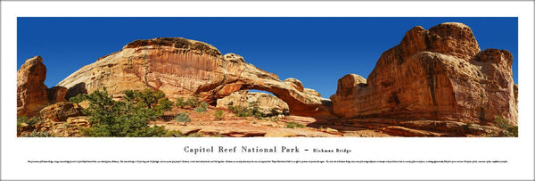 "Capitol Reef National Park ""Hickman Bridge"" Panoramic Landscape Poster Print - Blakeway Worldwide"