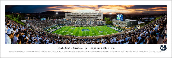 Utah State Aggies Football Maverik Stadium Game Night Panoramic Poster Print - Blakeway 2016