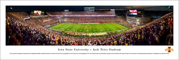 Iowa State University Cyclones Football Game Night at Trice Stadium Panoramic Poster - Blakeway