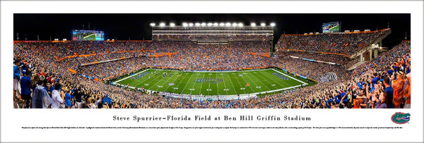 Florida Gators Football Game Night at Ben Hill Griffin Stadium Panoramic Poster Print - Blakeway 2016