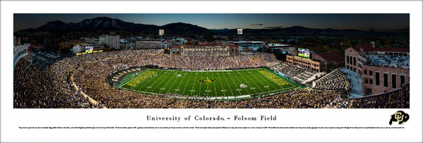 Colorado Buffaloes Football Folsom Field Game Night Panoramic Poster - Blakeway