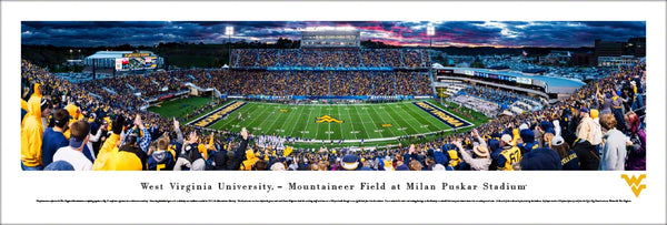 West Virginia Mountaineers Football Game Night Panoramic Poster Print - Blakeway Worldwide