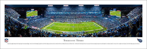 Tennessee Titans Nissan Stadium NFL Game Night Panoramic Poster Print - Blakeway Worldwide